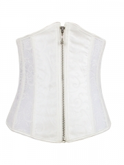 White Wedding Steel Boned Corset Front zipper Lace Underbust