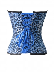 Wild Blue Leopard Hot Satin Women Overbust Corset