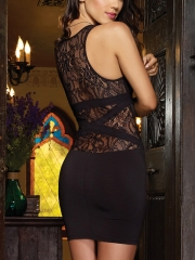 Hot Women Black Lace Back Sheer Dress Deep V Bodycon Dress