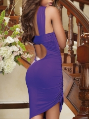 Ladies Purple One Shoulder Dress Backless Halter Neck Dress