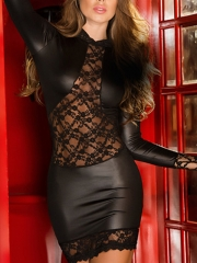 Hot Black Leather Classy Sheer Dress Lace Mature Lingerie