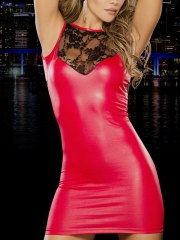 Lady Red Lace Front Sheath Dress Leather Sexy Cheap Lingerie