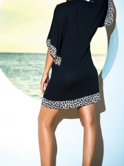 Black Leopard Side Lingerie Deep V Half Sleeve Chemises