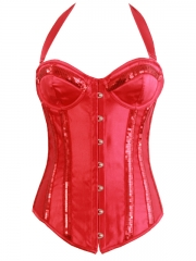 Hot Red Bling Girl Halter Outwear Party Corset