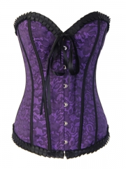 Elegant Purple Rose Lace High Quality Lining Corset