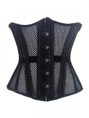 Black Double Strong Steel Boned Corset Thin Mesh Underbust