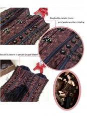 Fashion Deep Brown Steel Bone OverBust Steampunk Corset Top