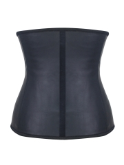 Black Smooth Latex Steel Boned Waist Training Corset Bustier