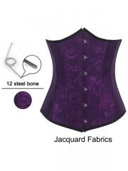 Purple Jacquard Steel Boned Underbust Waist Training Corset
