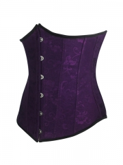 Purple Jacquard Steel Boned Underbust Waist Training Corset