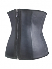 Front Metal Hook Black Zipper Latex Waist Training Corset
