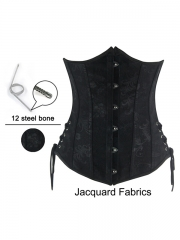 Black Steel Boned Underbust Corset Waist Training Corsets