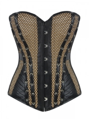 Fashion Leather Overbust Corset Tops Satin Bustier Tops