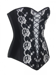 Black Overlay Lace Corset Tops Satin Bustier With Zipper
