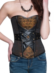 China Style Jacquard Bustier Leather Corset Tops With Zipper