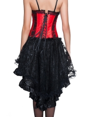 Lace Trim Bustier Zip Satin Overbust Corset Tops With Straps