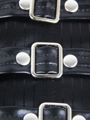 Black Stripe Waist Training Corsets Body Shaper With Straps