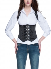 Black Stripe Waist Training Corsets Body Shaper With Straps