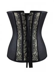 Gothic Lace Leather Overbust Corset Bustier Tops Wholesale