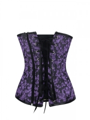 Floral Halter Corset Leather Overbust Corset Tops With Zip