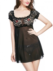 Sexy Black Lace Sheer BabyDolls Short Sleeve Mesh Lingerie