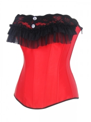 Gothic Red Lace Trim Bustier Satin Overbust Corset Tops