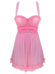 Charming Lace Trim Babydolls Sheer Mesh Chemises Nightwear