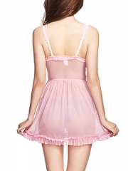 Charming Lace Trim Babydolls Sheer Mesh Chemises Nightwear