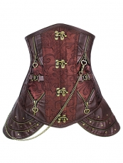 Retro Brocade Leather Steel Boned Underbust Steampunk Corset