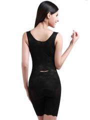 Black Lace Body Shaper Zipper Bodysuits Shapewear For Women