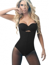 Clips And Zip Black Latex Bodysuit Tummy Control Body Shaper