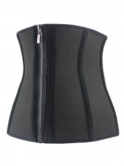 Hole Latex Waist Cincher Training Corset With Zip n Clips