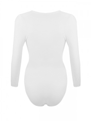 Women Seamless Shapewear Long Sleeve Open Crotch Body Shaper