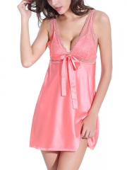 Charming Deep V Chemises Bow Lace BabyDolls With Straps