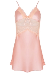 Women Sheer Lace Trim Badydolls Deep V Chemises Lingerie