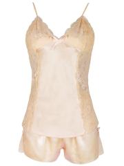 Women Sexy Lingerie Enchanting Silk 2 Piece Nightgowns Sets
