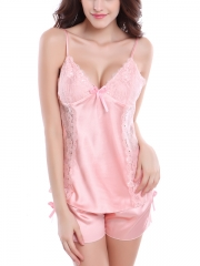 Women Sexy Lingerie Enchanting Silk 2 Piece Nightgowns Sets