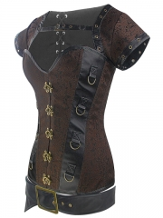 Gothic Dobby 12 Steel Boned Bustier Tops Steampunk Corset