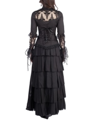 Steampunk Gothic Women Maxi Skirts Tiered Corset TUTU Dress