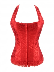 Red Jacquard Halter Overbust Corset And Bustier Tops