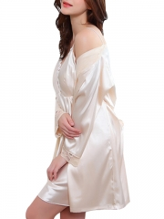 Two Pieces Gowns Robes Silk Women Nightdress Sexy Lingerie