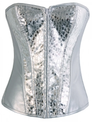 Silver Shining Women Rock Girl Fashion Corset