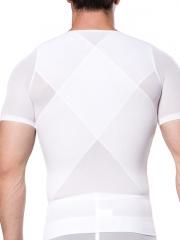 Mens Short Sleeve Undershirts Clips n Zipper Body Shaper