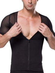 Mens Short Sleeve Undershirts Clips n Zipper Body Shaper