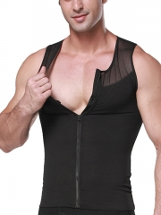 Mens Clips n Zipper Body Shaper Sleeveless Tank Top Shirts
