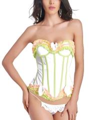Elegant Women Lace Trim Bustier Mesh Overbust Corset Tops