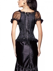 Short Sleeve Gothic Steampunk Jacquard Overbust Corsets Tops