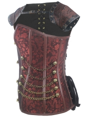 Women Gothic Steampunk Steel Boned Overbust Corsets Tops