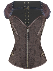 Women Dobby Bustier Gothic Steampunk Corset Tops With Zipper
