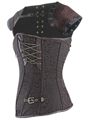 Women Dobby Bustier Gothic Steampunk Corset Tops With Zipper